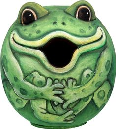 """#Frog """"Gord-O"""" Birdhouse. Songbird Essentials adds color & whimsy to any garden with our beautifully detailed wooden birdhouses that come ready to hang under the canopy of your trees. Hand-carved from albesia wood, a renewable resource, each birdhouse is hand painted with non-toxic paints and coated with polyurethane to protect them from the elements. #birdhouse #birdhouses"""