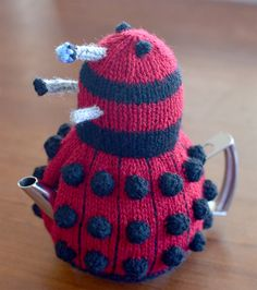 Free Knitting Pattern for Dalek Tea Cosy - Teapot cover inspired by Doctor Who's nemesis in DK yarn. Knit flat and seamed. Designed by Gail Hodgman.
