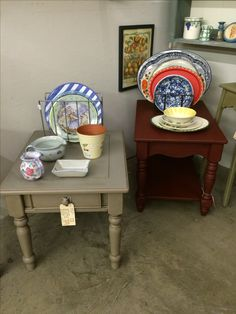 Country End Tables, painted with Annie Sloan Chalk Paint (Primer red on the right and Coco on the left). Waxed with clear & dark wax. Currently for sale at Georgetown Peddler's Mall, Georgetown, KY. Booth 366