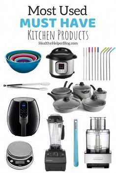 A round-up of my MUST HAVE kitchen gadgets, appliances, and tools that I use on a daily basis to cook healthy meals and recipes. Must Have Kitchen Gadgets, Kitchen Must Haves, Kitchen Appliance Storage, Small Kitchen Appliances, White Appliances, Modern Kitchen Cabinets, New Kitchen, Kitchen Tips, Kitchen Supplies