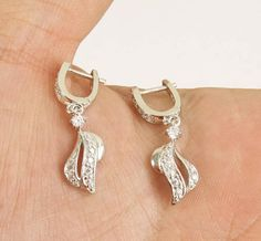 Solid 925 Sterling Silver small  white topaz earrings