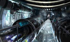 Futuristic Interior, Cyberpunk Atmosphere, Star Trek concept art by Ryan Church # sci-fi vehicule Spaceship Interior, Futuristic Interior, Futuristic City, Sci Fi Environment, Environment Design, Blade Runner, Nave Enterprise, Cyberpunk, Star Trek Rpg