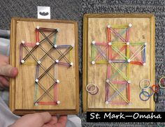 Sunday school craft - 'string art' crosses for Holy Week, but instead of using string, we used the little colored rubber bands from rainbow loom to make our designs.  Older kids can experience pounding their own nails while talking about the events of Good Friday.