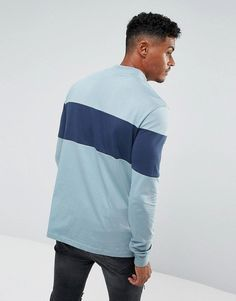 Ellesse High Neck Sweatshirt With Large Panel Logo In Blue - Blue