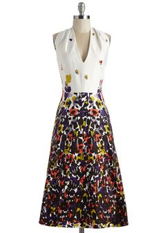 Welcoming Committee Dress - Long, Cotton, Woven, Multi, White, Floral, Print, Daytime Party, Graduation, A-line, Sleeveless, Better, V Neck