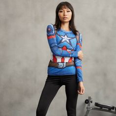 Classic Captain America 3D Printed Compression Long Sleeves Woman T-shirt  #Classic #Captain #America #3D #Printed #Compression #Long #Sleeves #Woman #T-shirt