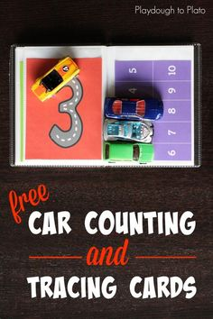 FREE Car counting and tracing cards. Such an awesome way to teach kids about numbers in preschool or kindergarten! Preschool Math Games, Numbers Preschool, Math Numbers, Preschool Learning, Kindergarten Math, Teaching Math, Preschool Activities, Number Activities, Montessori Math