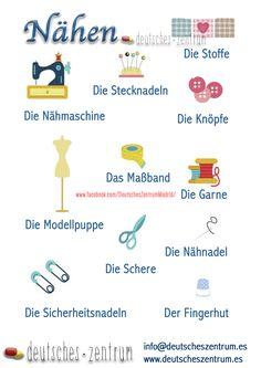 Nähen Deutsch Wortschatz Grammatik Alemán German DAF Vocabulario