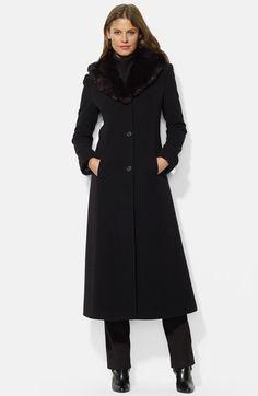 Main Image - Lauren Ralph Lauren Faux Fur Shawl Collar Long Wool Blend Coat (Online Only)