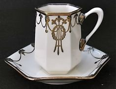Art deco sterling overlay demitasse cups and saucer – Belleek Pottery