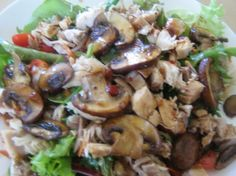 mushroom and shredded chicken salad - perfect for lunch!