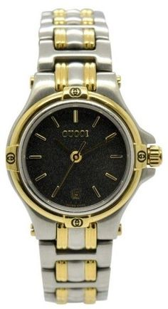 a775c01eba5 Gucci 9040L Stainless Steel   Gold Plated Date Black Dial Quartz 27.5mm Womens  Watch