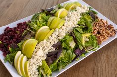 Harvest Salad: Mixed Greens with Sliced Granny Smith Apples, Dried Cranberries, Walnuts and Crumbled Gorgonzola Cheese