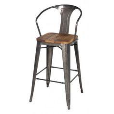 metal bar stool wood seat