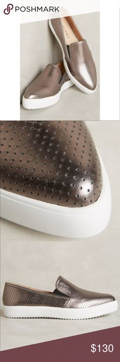 Perforated Metallic Pointy Toe Slip On Loafer By JSlides X Anthropology  Fits true to size Leather upper, insole Rubber sole Imported Metallic Anthropologie Shoes Sneakers