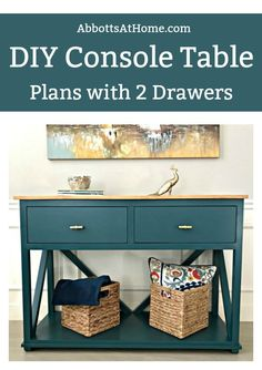 Full tutorial for this beautiful DIY Farmhouse Console Table with Drawers! Makes a great large Entry Table too. How to build a console table with drawers. This tutorial is easy to , with loads of pictures. Wood Pallet Furniture, Diy Furniture Projects, Farmhouse Furniture, Furniture Plans, Diy Projects, Project Ideas, Country Furniture, Furniture Online, Discount Furniture