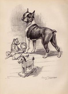 1950s Vintage BOSTON TERRIER Print Illustration Dog Gallery Wall Art 1346