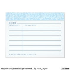 Recipe Card | Something Borrowed Something Blue