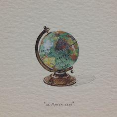 Globe, postcards for ants