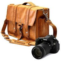 """14"""" Manhattan Camera Bag - Serengeti -Full Grain Leather - Large Padded Camera Insert Divider with Padded Bottom - Made in the U.S.A."""