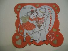 Antique Fold Open Valentine Card Cowboy Lasso Girl All Tied Up Gilt Hearts | eBay