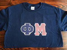 America Phi Mu Stitched Lettered shirt by GreekStitchedShirts