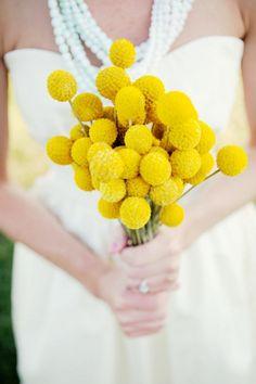 bright yellow billy button wedding bouquet shot by BVAPhoto