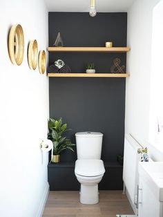 HOME | Downstairs Bathroom dark Grey Makeover