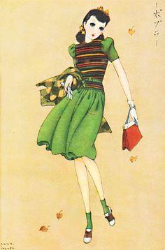 Girls' magazine'SHOJO NO TOMO' published in 1939 ,Japan.     Art by Junichi Nakahara 中原淳一 - 少女の友 昭和14年11月号