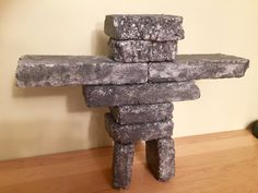 Inukshuk - made with styrofoam, Powertex liquid medium and Powertex StoneArt Polo Norte, Canada 150, Classroom Ideas, Medium, Garden, Projects, Crafts, Home Decor, Voyage