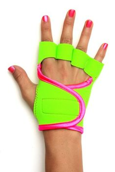 Lime Green workout gloves with pink piping · g-loves workout gloves for women