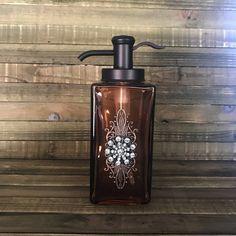 Soap Dispenser, Lotion Dispensers, Home Decor, Decorative Home Decor, Bathroom Glass Bottles, Decorative Bottles, Pump Dispenser by Stylishvintagedesign on Etsy