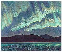 Jackson, 1882 - 1974 Aurora, 1927 oil on canvas x Art Gallery of Ontario, Toronto Gift of the Canadian National Exhibition Association, 1965 Group Of Seven Artists, Group Of Seven Paintings, Tom Thomson, Emily Carr, Canadian Painters, Canadian Artists, Beautiful Landscape Paintings, Landscape Art, Nocturne