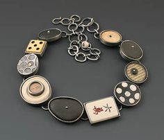 """Kristi Zevenbergen: Collection #9, Necklace in sterling silver and 18k gold with found objects. Approx. 18"""" long, adjustable."""