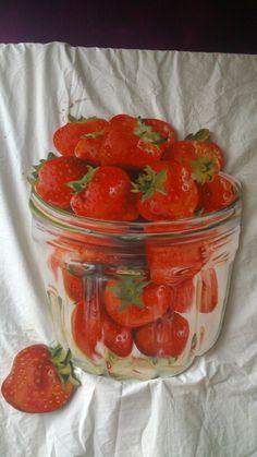 Aardbeien, frescolithe op mdf