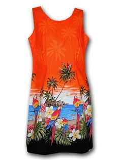 PL 360-3468 Ladies Short Tank Dress [Orange] - Short Dresses - Hawaiian Dresses | AlohaOutlet SelectShop