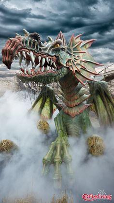 Efteling wallpaper van de draak van Joris en de Draak. Staande wallpaper voor telefoon en tablet.