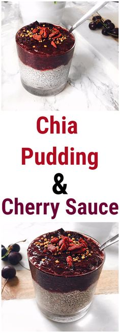 Healthy Chia Pudding with Cherry Sauce Recipe #chiapudding #cherry #recipe #healthy #healthyrecipes #breakfast #healthybreakfast #fruit #vegan #veganrecipes #glutenfree
