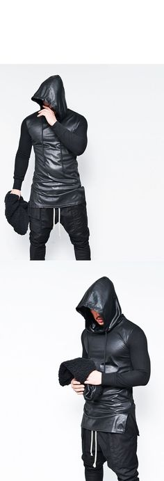 Tops :: Hoodies :: Double-side Shearling Warmer Leather Body Hood-Hoodie 96 - Mens Fashion Clothing For An Attractive Guy Look