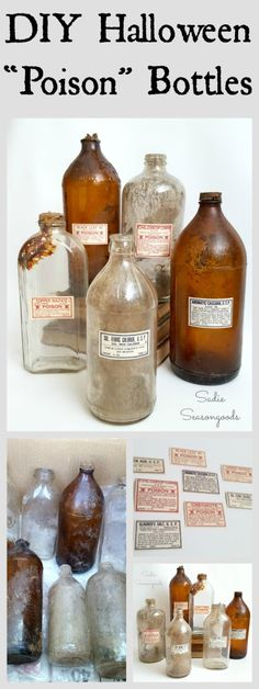 """Create one-of-a-kind creepy, spooky decor this Halloween by making your own mad scientist """"poison"""" bottles. I repurposed old """"dug"""" bottles from a rummage sale, but any glass bottles/jars from your recycling bin will do! Add some vintage dead stock poison labels (or buy some printables or pre-made new labels) and you are all set! Super easy upcycle from #SadieSeasongoods / www.sadieseasongoods.com"""