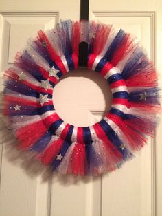 Tulle Patriotic Wreath Tulle Wreath 4th of July Red by HTADesigns