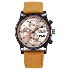 Tezer Quartz Leather Watch