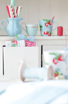 Cath Kidston, stowberries, Minty House, blue&red