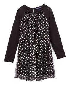 Look what I found on #zulily! Black Heart Sheer-Overlay Dress - Infant, Toddler & Girls #zulilyfinds