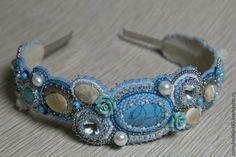 """Купить ободок""""Голубая лагуна"""" - бирюзовый, ободок для волос, жемчуг майорка, листики, камень натуральный"""