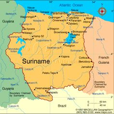 Map Of Suriname (South America)