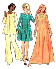 Maternity Dress Pattern 1970s Simplicity Long Short Tunic Top Bell Bottomed Pants Sewing Vintage Uncut Women's Misses Size 14 Bust 36 Inches by SelmaLee on Etsy