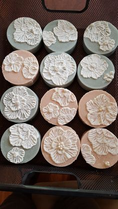 These soaps are embellished with soap icing, embroidery technique. The pearls are sugar beads.