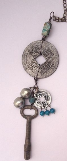 Namaste Yoga Jewelry, Talisman Necklace, Urban Talisman, Silver Coin Necklace on Etsy, $40.00