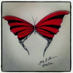 "100 Butterflies in 100 Days, Day 55 - ""Lovely"", Medium: Color Pencil"